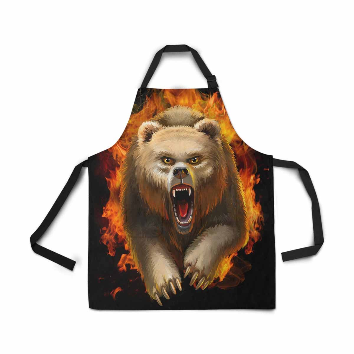 InterestPrint Fierce Bear Apron Kitchen Cook for Women Men Girls Chef with Pockets, Forest Animal Funny Adjustable Bib Baking Paint Cooking Apron Dress