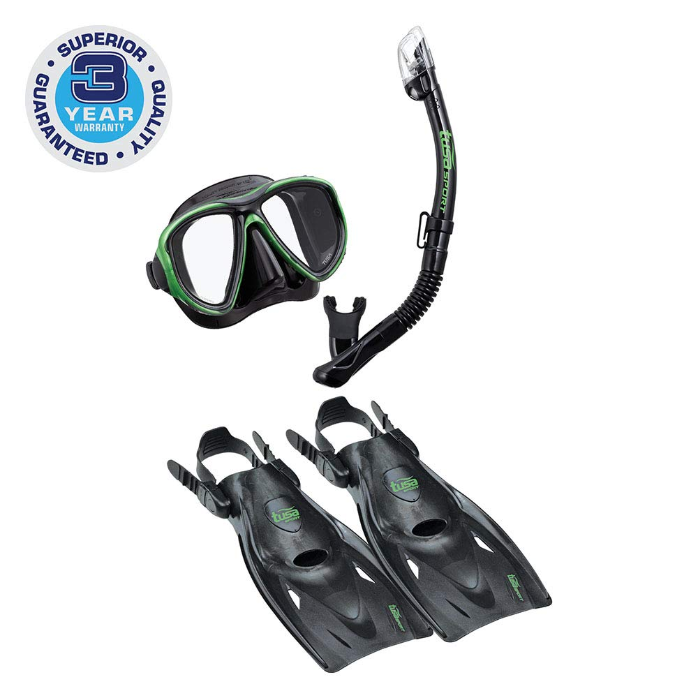 TUSA Sport Adult Powerview Mask, Dry Snorkel, and Fins Travel Set, Large, Black/Siesta Green by TUSA Sport