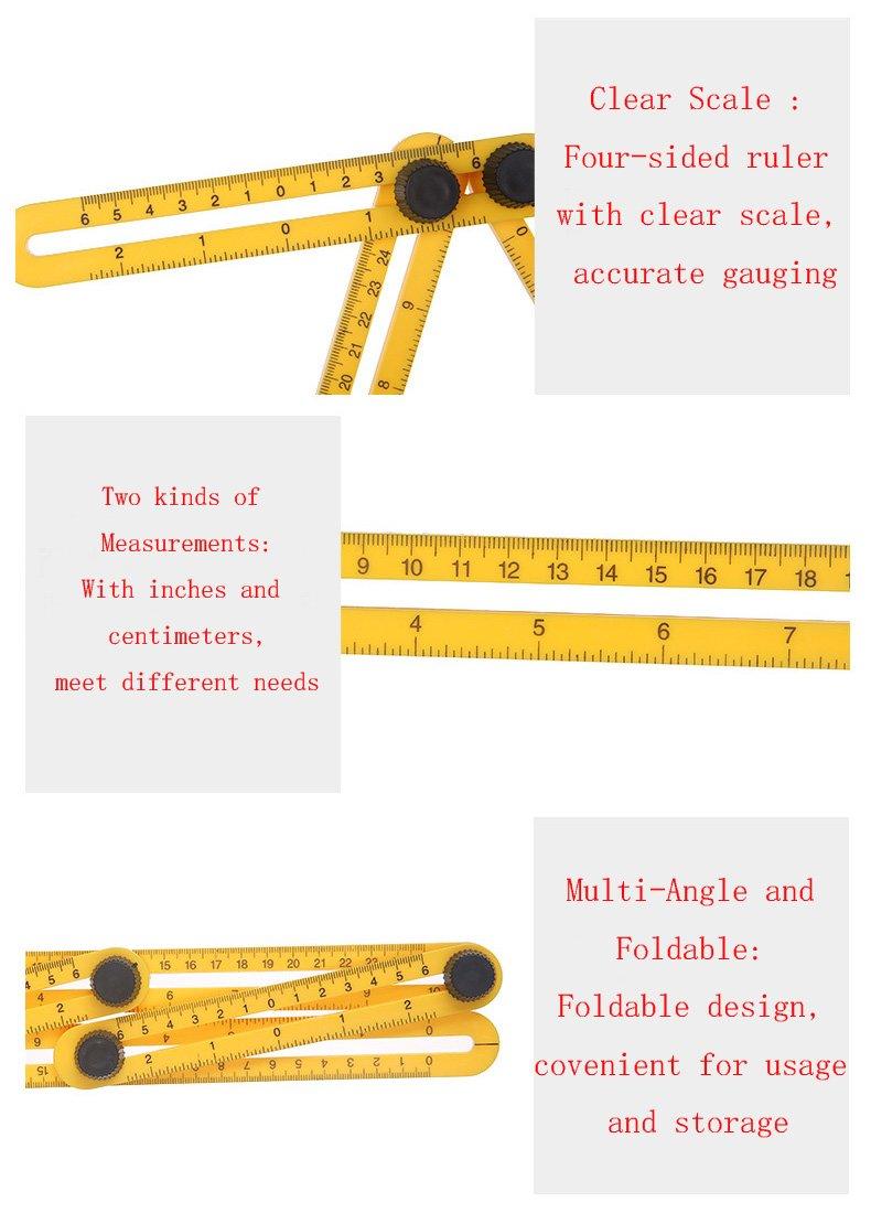 TQP-CK Angleizer Template Tool,Outil de Gabarit Angulaire avec Vis M/étalliques R/ègle de Mesure dans Bo/îte Cadeau pour Constructeurs,Artisans,DIY-ers