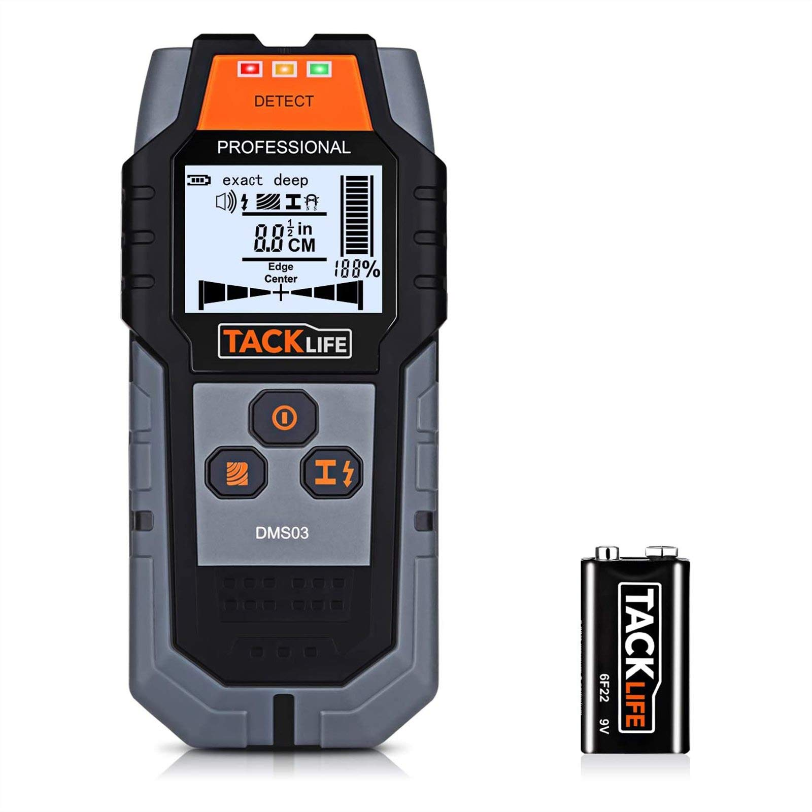 TACKLIFE Stud Finder Upgraded Wall Scanner, 4 in 1 Center Finding Electronic Wall Detector Finders with Warning, Four Scan Modes for Wood Stud/Metal/Live AC Wire/Deep Detecting - New Version DMS03