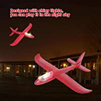 """FunBlast Airplane Toy 17.5"""" Large Throwing Foam Plane With LED Light, Dual Flight Mode, Aeroplane Gliders, Flying Aircraft, Gifts for Kids, 3 4 5 6 7 Year Old Boy Girls. (Random Color) (Pack Of 2 PCS)"""