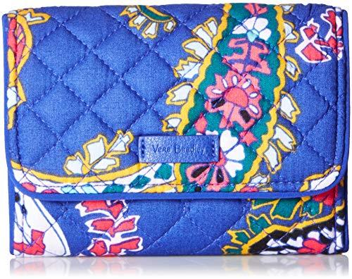Vera Bradley Iconic RFID Riley Compact Wallet, Signature Cotton, Romantic Paisle