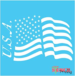 """American Flag Stars and Stripes USA Stencil Best Vinyl Large Stencils for Painting on Wood, Canvas, Wall, etc.-S (10"""" x 6.5"""")