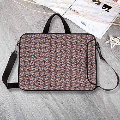 Modern Decor Portable Neoprene Laptop Bag,Ocean Sailor Web Fish Net with Braid Like Lines on Blue Backdrop Laptop Bag for Travel Office School,8.7