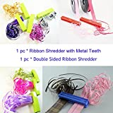 Durable Ribbon Shredder Curler with Metal Teeth Blade Lime Green x 1pc and Double Sides Ribbon Shredder Curler Tool x 1pc