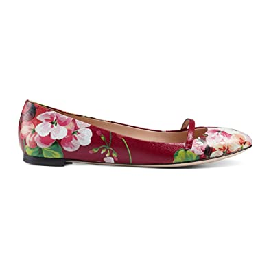 a680422af1a Gucci Women s Leather Blooms Floral Print  Arielle  Ballerina Flats Shoes