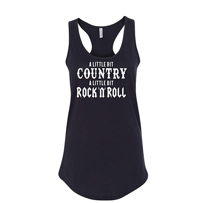 9f4c13e13 Amazon.com: A Little Bit Country A Little Bit Rock 'N' Roll Ladies Printed  Graphic Sleeveless Racerback Tank Top Tee Shirt: Clothing
