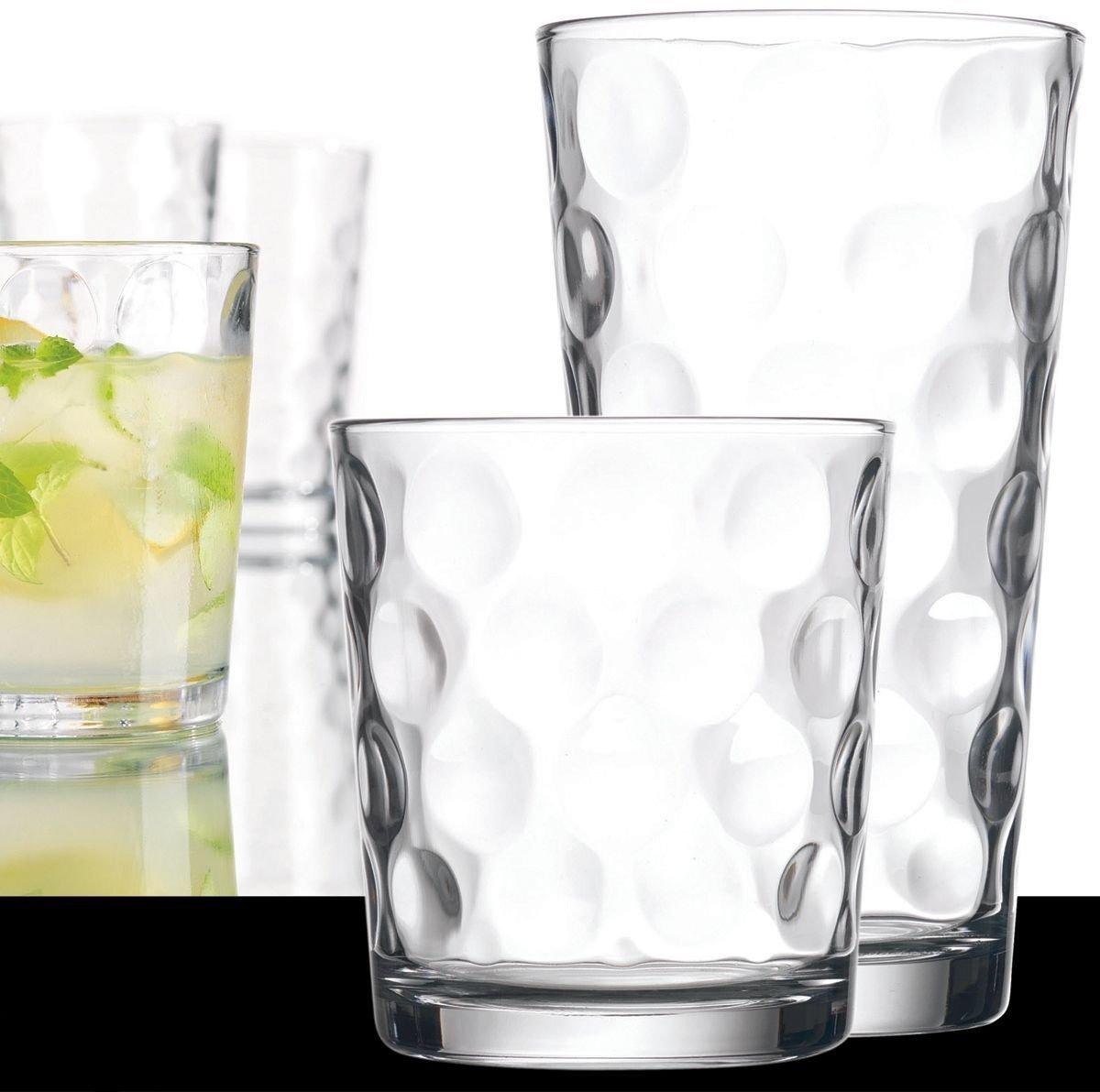 Set of 16 Heavy Base Bubble Design Drinking Glasses Includes 8 Cooler Glasses(17oz) and 8 Rocks Glasses(13oz), 16-piece Stylish Glassware Set
