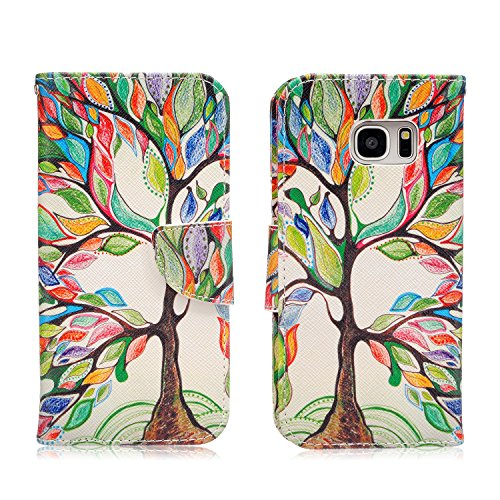Samsung Galaxy S7 Edge Case,JinLi Printed Pattern Filio Wallet Cellphone Book Protective Cover Designed with Credit Card Slot and Money Holder and Kickstand for Hands Free video (tree)