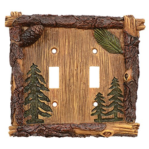 Pinecone & Tree Lodge Double Switch Plate
