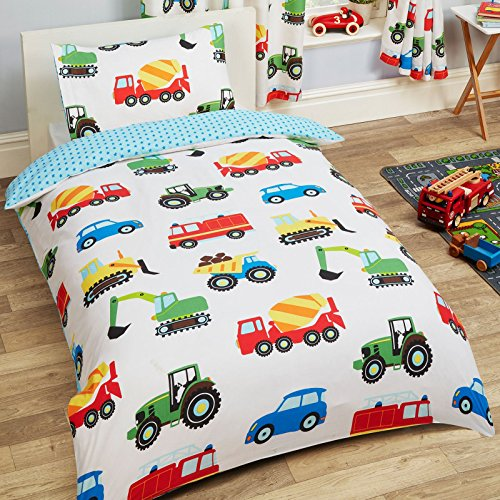 Trucks and Transport 2 Piece UK Junior/US Toddler Sheet Set, 1 x Double Sided Sheet & 1 x Pillowcase