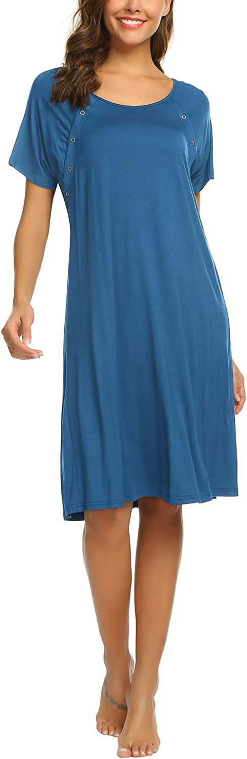Ekouaer Women's Nursing/Delivery/Labor/Hospital Nightdress Short Sleeve Maternity Nightgown with Button S-XXL at  Women's Clothing store