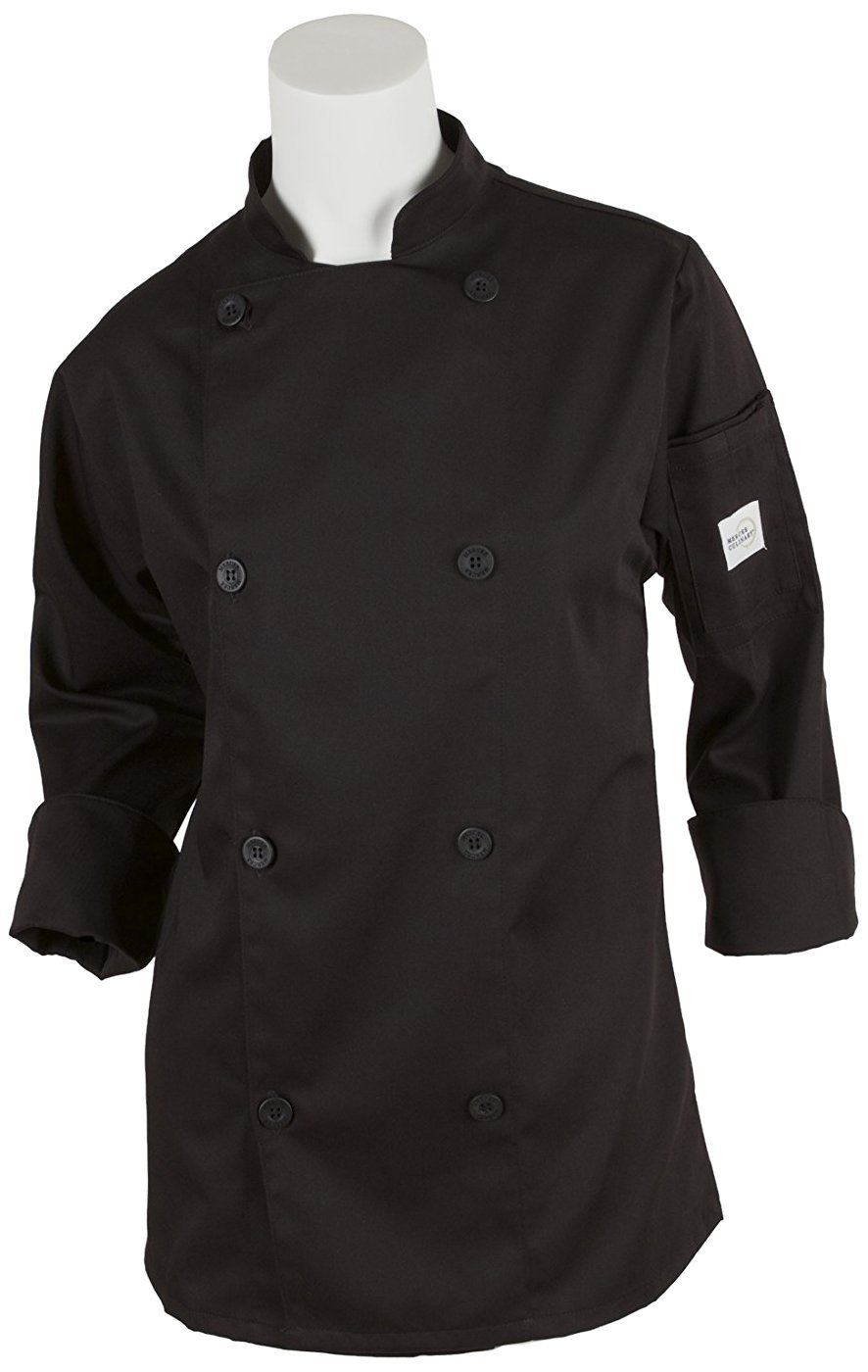 Mercer Culinary M61030BK1X Genesis Women's Chef Jacket with Traditional Buttons, X-Large, Black
