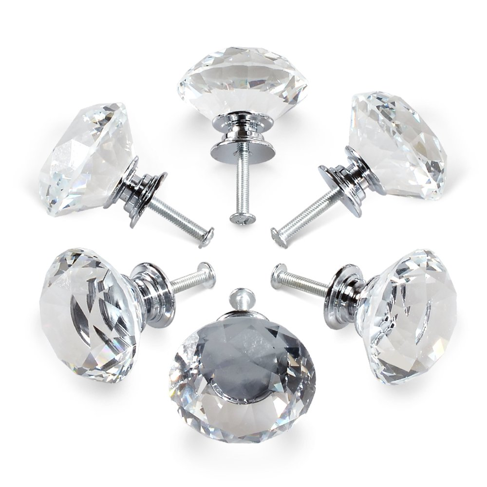 YDO 40mm Diamond Shape Crystal Glass Knob, 6 Pieces, Clear