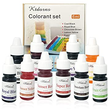 Amazon.com : Food Coloring 10 Color Variety Kit in .25 fl. oz. (6ml ...