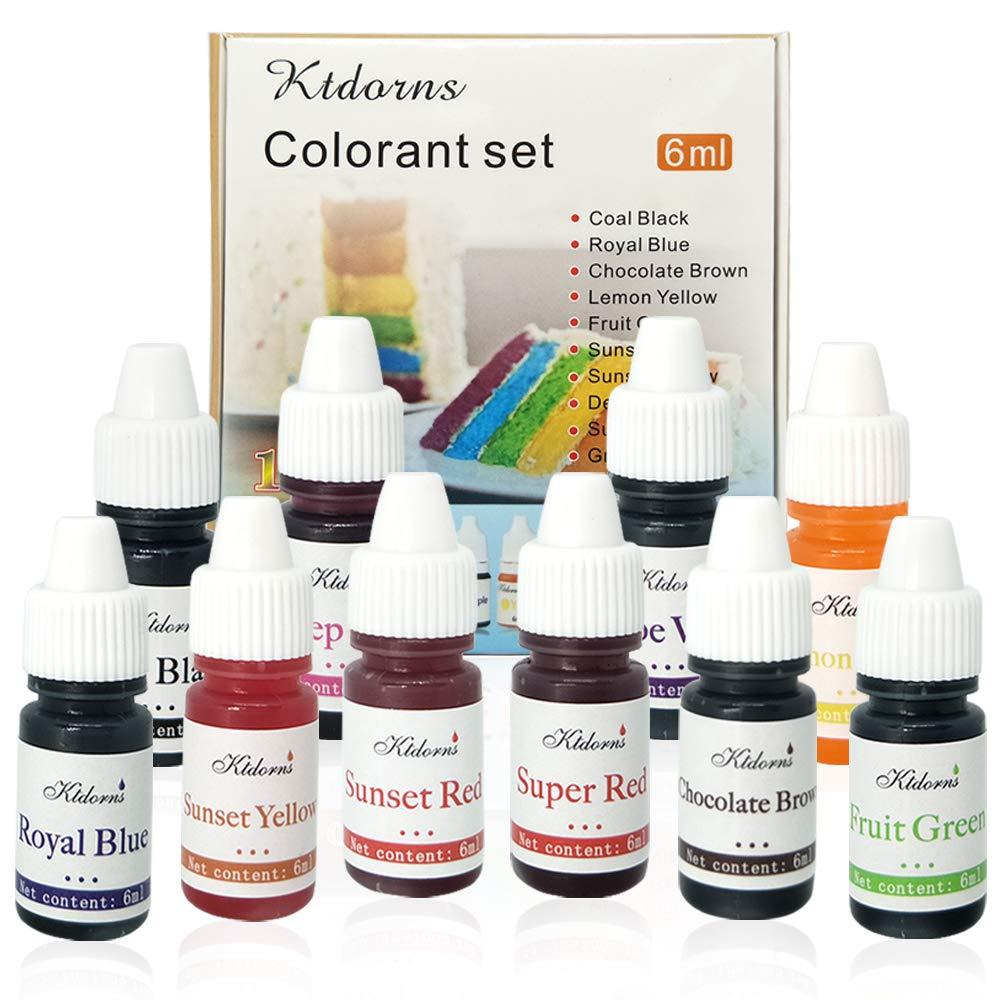 Food Coloring 10 Color Variety Kit in .25 fl. oz. (6ml) Bottles .For cake food coloring neon food coloring food dye