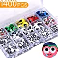 1400Pcs Googly Wiggle Eyes with Self-Adhesive in Portable Plastic Box, Round Wobbly Eyes Sticker Multi Colors and Sizes for DIY Craft Scrapbooking Decorations