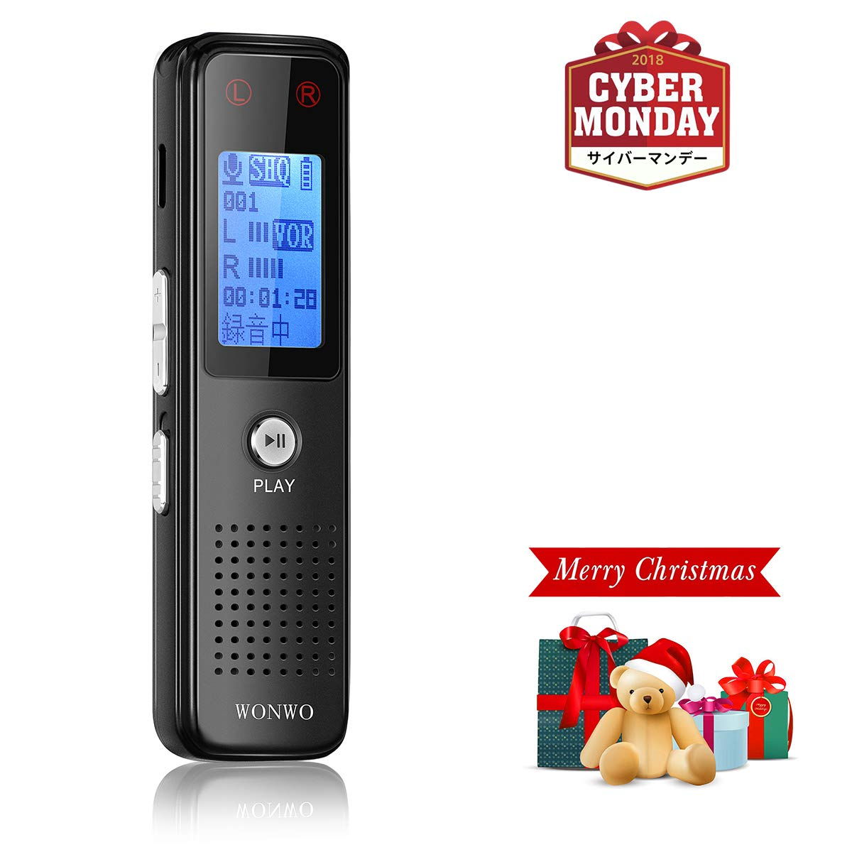 Wonwo ボイスレコーダー ICレコーダー 録音機 MP3プレーヤ USB充電対応 8GB 230mA長時間録音 内蔵スピーカー 高音質 軽量 操作簡単 超小型 持ち運び易い …
