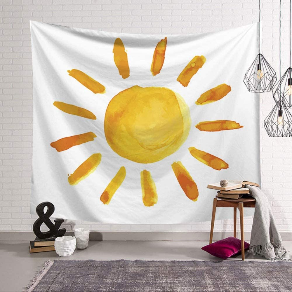Tapestry Wall Hanging,Simple Yellow Sun Simple Nordic Style,Printed Fabric Large Size for Wall Decoration Home Living Room Bedroom Dormitory,150/×130Cm
