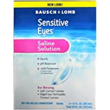 Contact Lens Solution by Bausch & Lomb, Sensitive Eyes Solution for Soft Contact & Gas Permeable Lenses, Saline Solution with