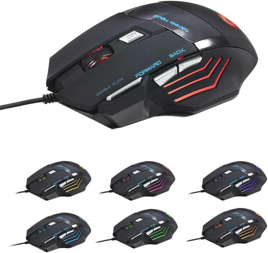 Comfortable Grip Ergonomic 868 Fantastic Alternating Light USB 2.0 7-Button Mouse Black Gaming Mouse Wired with Color Changing Lamp