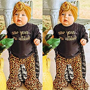 Marxways Toddler Baby Girls New Year Letter Print Tops Leopard Print Pants Flared Trousers Sets Clothes (Black – 90)
