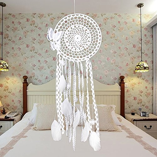 JD Million shop White Wind Chimes Handmade Butterfly Dream Catcher Feather Bead Dreamcatcher For Window/Car/ Wall Hanging Decoration (Logo Hanging Stocking)