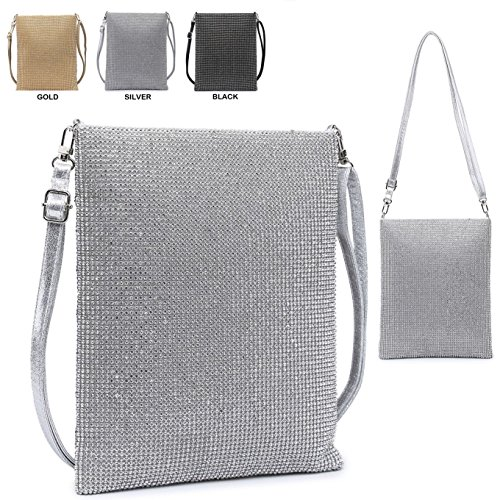 Clutch Bag Silver Evening Summer Messenger Ladies Diamante Crystal Women's Purse M38427 Party Handbag xYwqqzC7