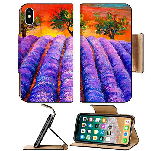 Msd Premium Apple Iphone X Flip Pu Leather Wallet Case Original Oil Painting Of Lavender Fields And Trees On Canvassunset Landscapemodern Image 25101186