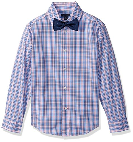 Tommy Hilfiger Big Boys' Long Sleeve Stretch Dress Shirt with Bow Tie, Light Pink, 10 (Big Kids Light Pink Apparel)