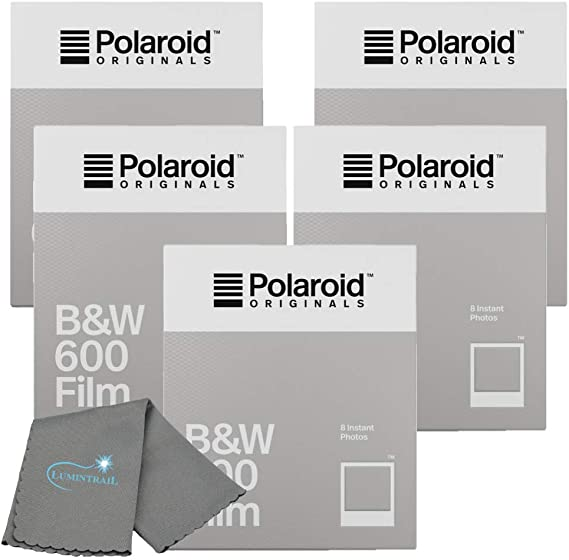 Polaroid Originals Black & White Instant Film for 600 and i-Type Cameras Bundle with a Lumintrail Cleaning Cloth