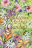 Toland Home Garden Welcome To The Garden 28 x 40 Inch Decorative Spring Summer Flower Butterfly House Flag For Sale