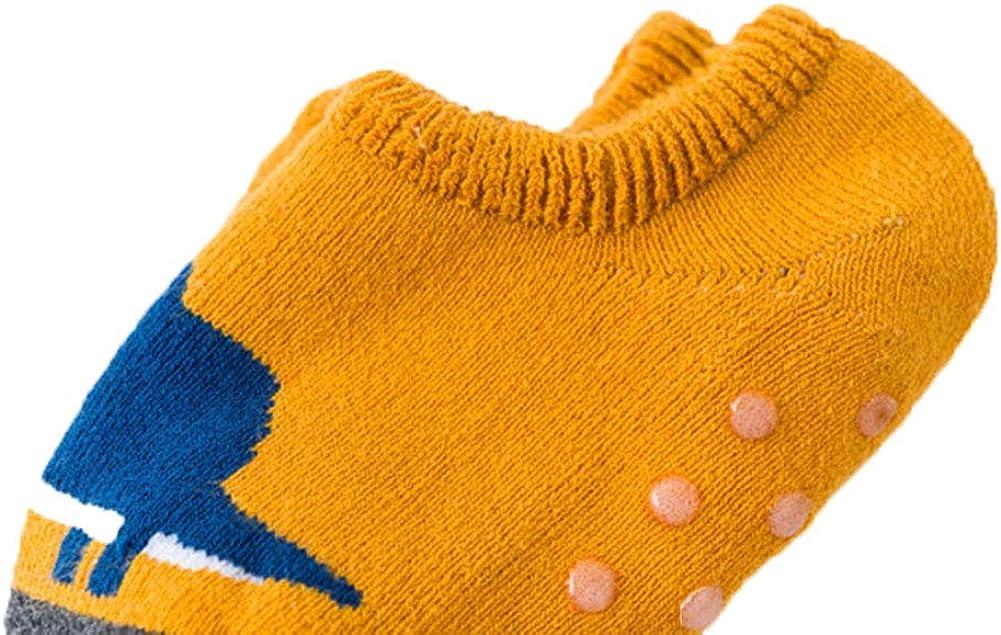 Estwell 6 Paires Chaussettes Antid/érapants B/éb/é Fille Gar/çons Coton Mignon Animaux Nouveau-n/és Enfants Non-glissement Chaussettes Avec Poign/ées pour Hiver//Automne