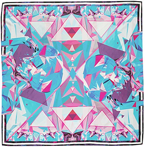 R. Culturi Handmade in Italy Silk Twill Luxury Artwork Scarf Shawl (Blue/White) by R. Culturi