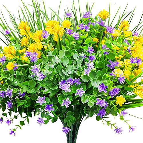 CEWOR 9pcs Artificial Flowers Outdoor UV Resistant Shrubs Plants for Hanging Plants Wedding Porch Window Decor(Yellow, Purple, Green) (Outdoor Plastic Flowers)