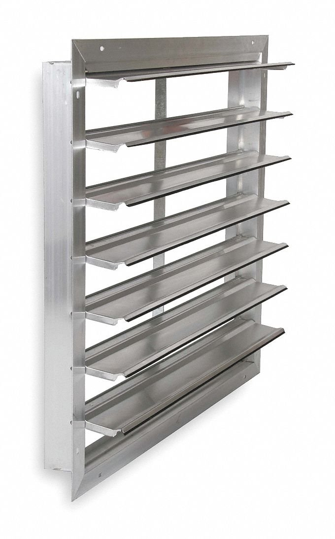 Dayton 30'' Backdraft Damper/Wall Shutter, Front Flange, 30-1/2'' x 30-1/2'' Opening Required
