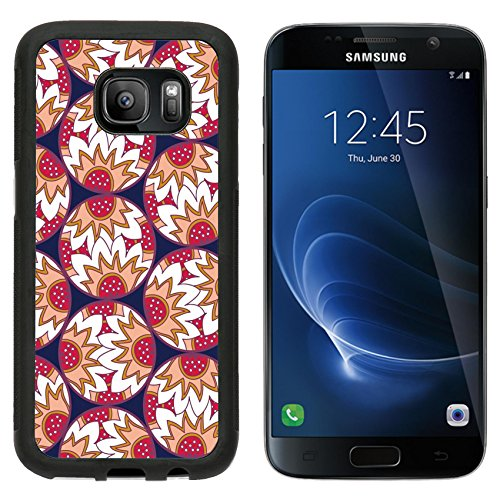 MSD Premium Samsung Galaxy S7 Aluminum Backplate Bumper Snap Case Decorative retro colorful circles with doodle floral and strawberry print IMAGE 34745938