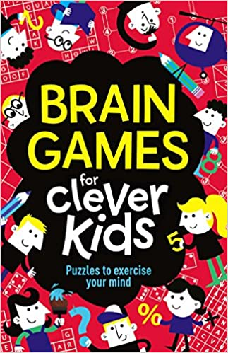 image of Brain gaemes for clever kids activity book in red & black color