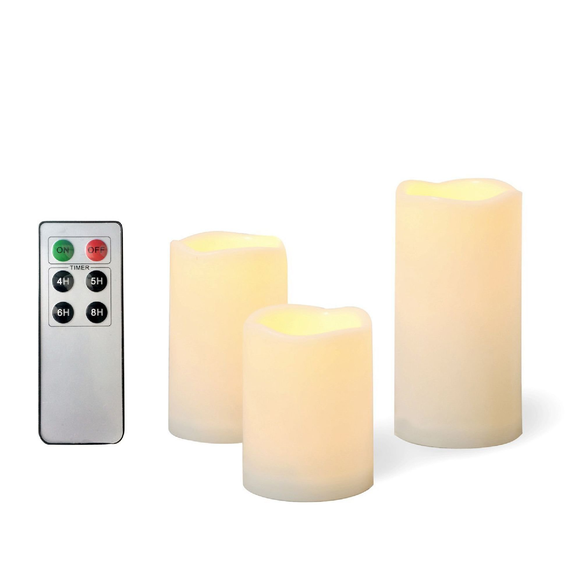EcoGecko 3 Piece Outdoor Flameless Candles with Remote Timer Plastic Realistic Flickering Battery Operated LED Pillar Melted Edge Party Wedding Birthday Home Holiday Décor Gifts 3 Pack