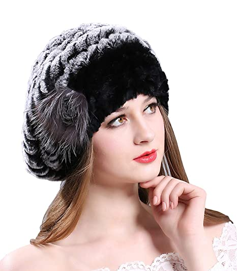 ac0019a15a2 Winter Berets Womens Rex Rabbit Fur Beanies Knitted Cashmere Hats (Black)