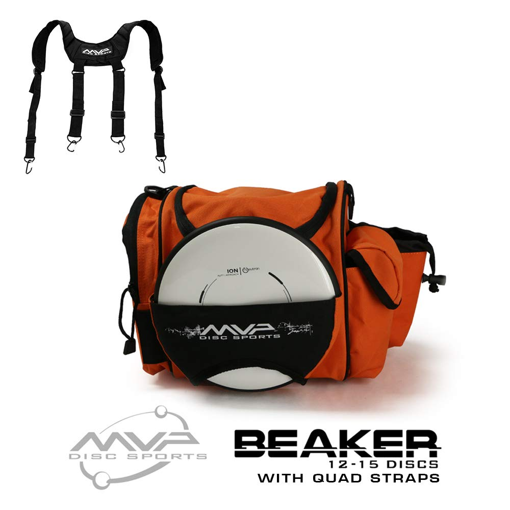 MVP Disc Sports MVP Beaker Competition Disc Golf Bag + Quad Straps - Orange