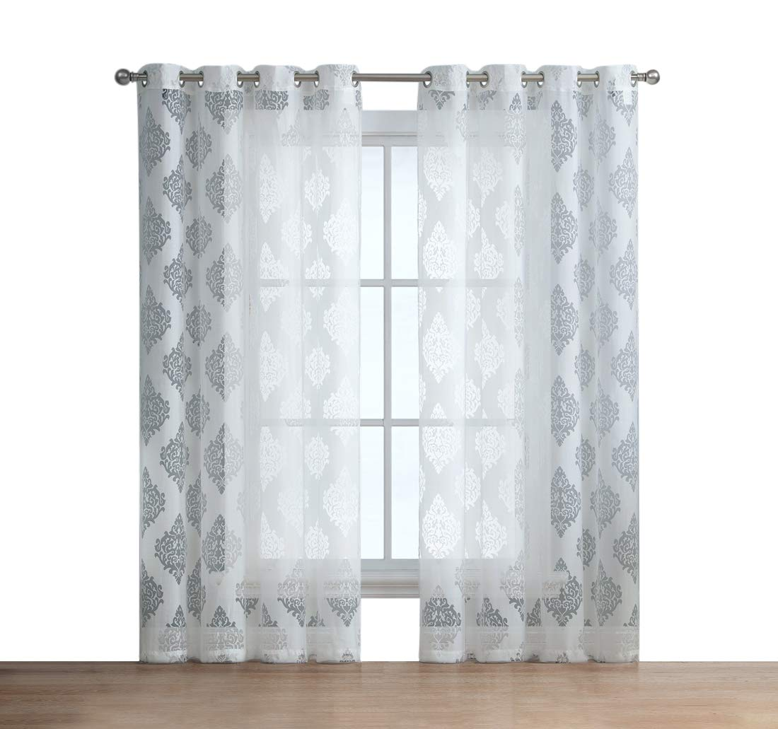 HLC.ME Adel Damask Burnout Window Sheer Voile Curtain Grommet Panels for Living Room - Set of 2-96'' inch (White)