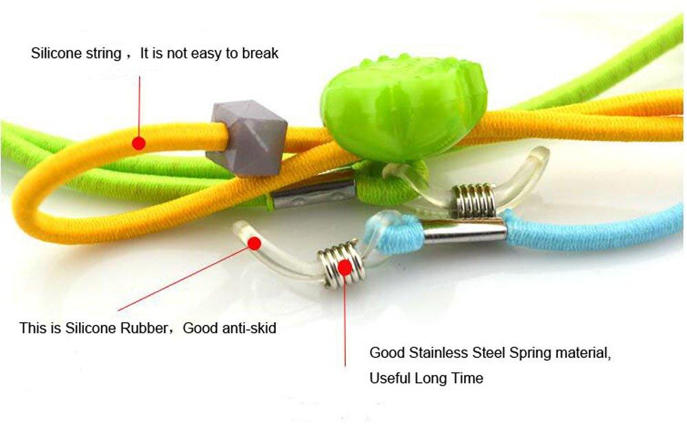 Monocolo catena regolabile elastica nylon laccio da collo cordino verde plastica occhiali fermo per bambini colore casuale 6pcs