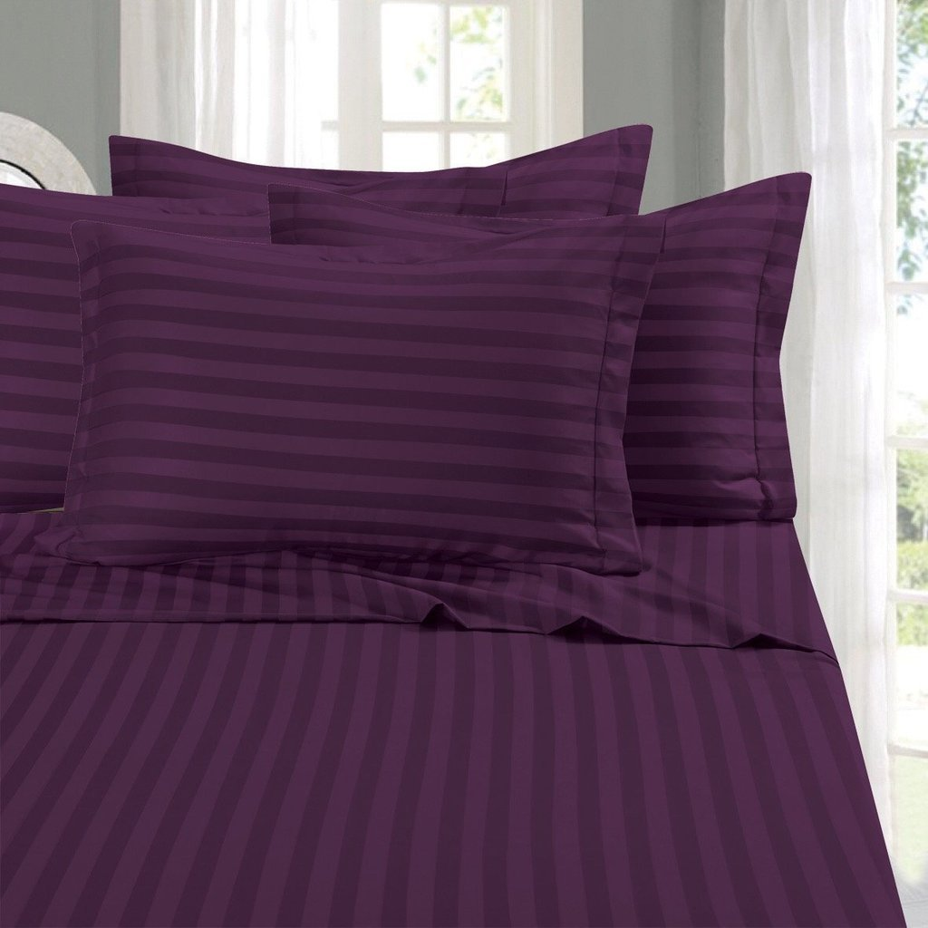 Flyingcart Luxury Hotel 520-Thread-Count 100% Egyptian Cotton Queen 4 Piece Sheet Set Striped With 12'' Deep Fitted Sheet Pocket, Purple