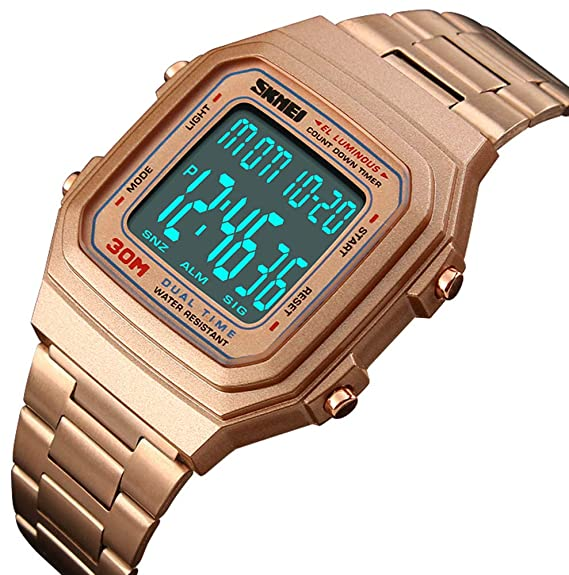 341cea70df7 Unisex Retro Digital Watches Multifunctional Stopwatch Countdown Alarm  Backlight Water Resistant Watch (Rose Gold)