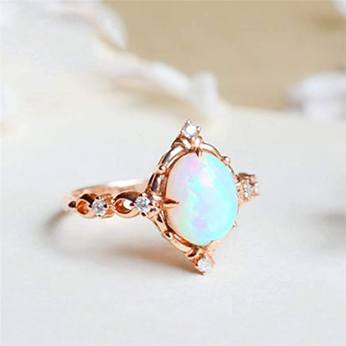 Amazon.com: JEWH Floral Opal Rings for Women - Vintage Fashion Rose Gold Filled Leaf Zircon Ring - Luxury Wedding Jewelry - Sweet Anniversary Gift (Style 4) ...