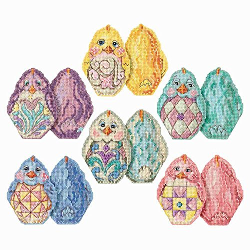 Chicks Beaded Counted Cross Stitch Easter Ornament Kits by Jim Shore 2017 Mill Hill (Set of 6 Kits: Aqua, Blue, Pink, Purple, White, Yellow Chick) ()