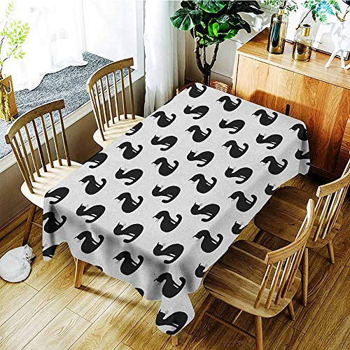XXANS Tablecloth for Kids/Childrens,Cat,Silhouette of a Kitten Monochrome Feline Pattern House Pet Illustration Halloween,Party Decorations Table Cover Cloth,W54x90L Black White