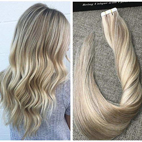 Ugeat 16inch Natural Human Hair Extensions Piano Colored Ash Blonde #18 with Bleach Blonde #613 Tape in Hair Extensions Remy Virgin Brazilian Hair Extensions