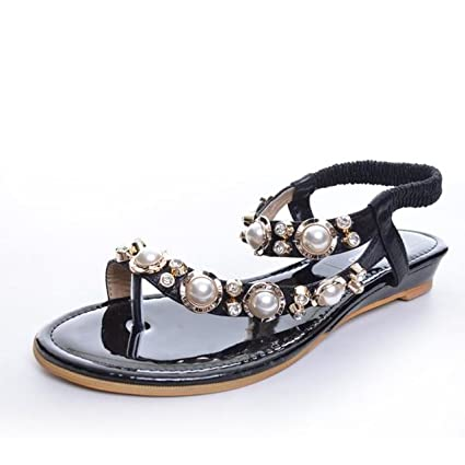 2c3ac413452b Image Unavailable. Image not available for. Color  Luxury Rhinestone Woman Roman  Sandals Flat Shoes Beach Bohemia Beading Elastic Band ...